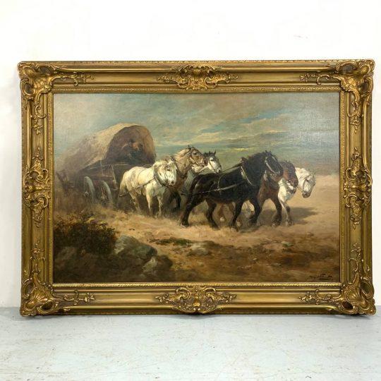 Антикварная живопись «Конная упряжка»